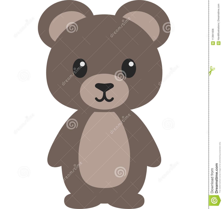 Bear Cute Woodland Vector Illustration Stock Vector.