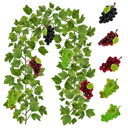 Supla 4.9\' Long Artificial Grape Leaf Garland Hanging Ivy Garland Ivy Leaf  Greenery Vines Garland with Assorted Grapes for Winery Events Wedding.