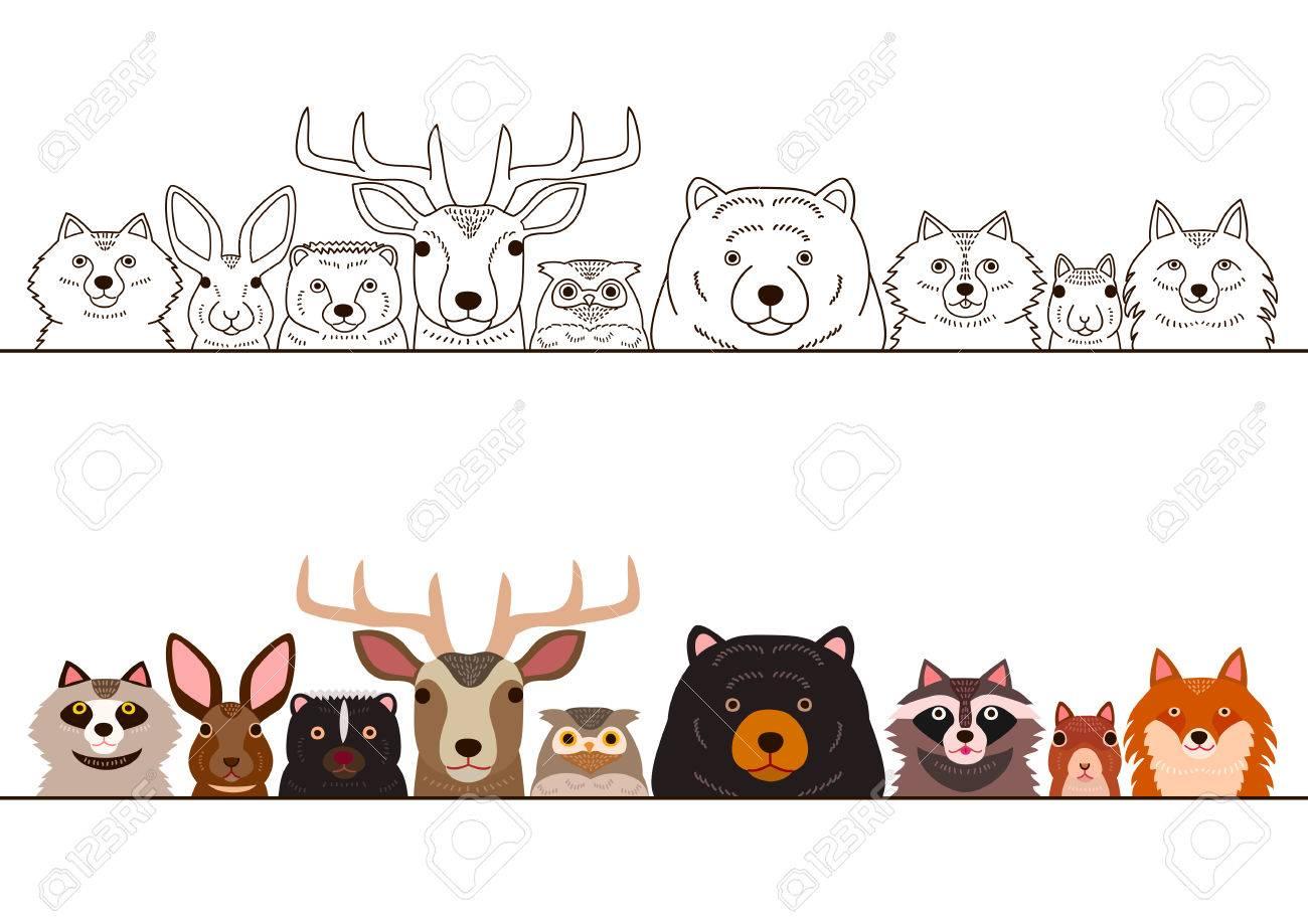 Woodland animals border set..