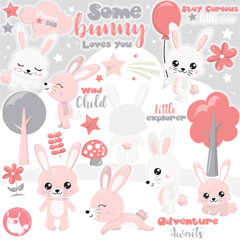Sale Woodland bunny clipart commercial use, vector graphics, digital.