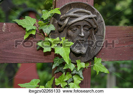 "Stock Photo of ""Christian carvings, Jesus with a crown of thorns."
