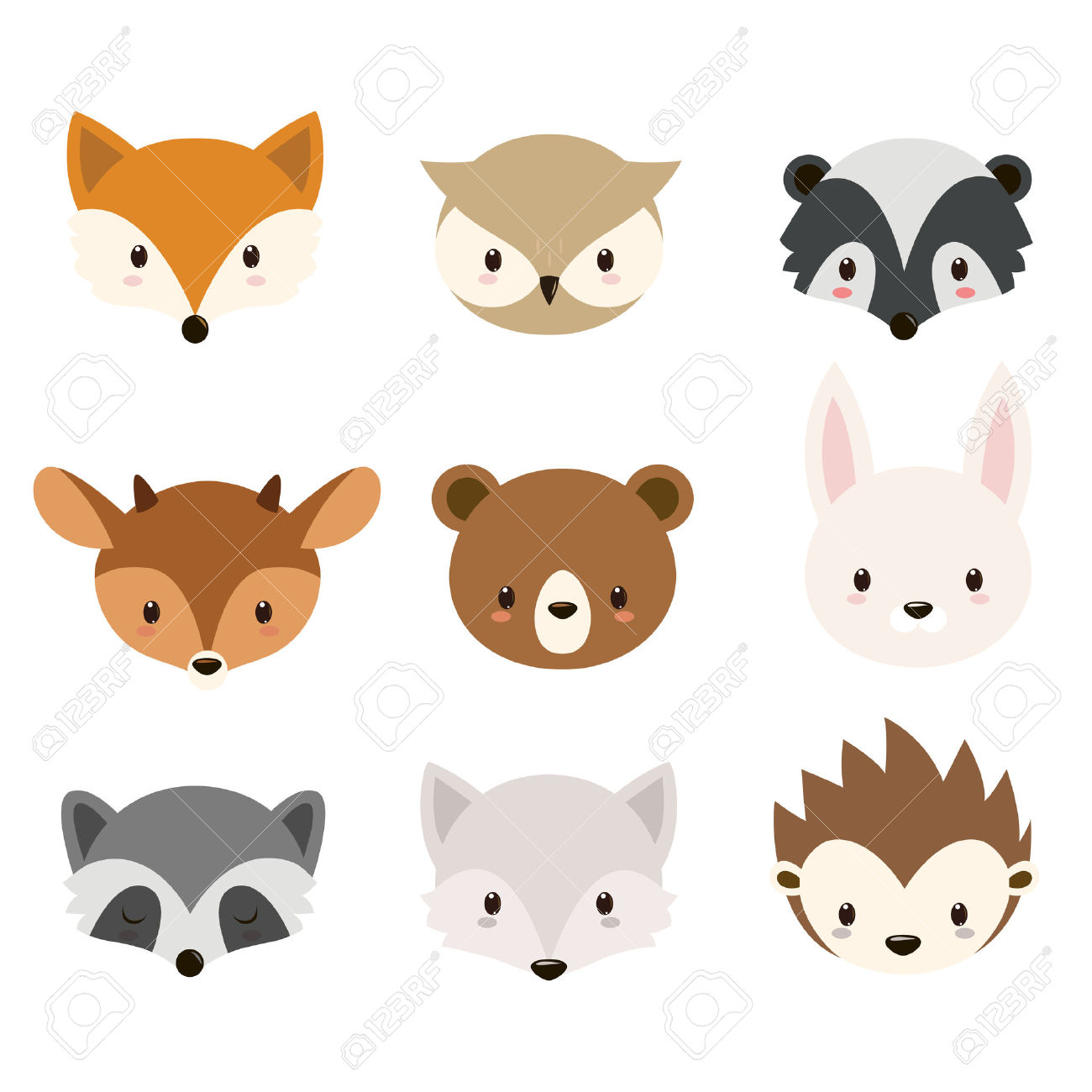 Cute Woodland Animals Collection. Animals Heads Isolated On White.