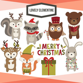 Woodland Christmas clip art images, line art digital stampsforest animals.