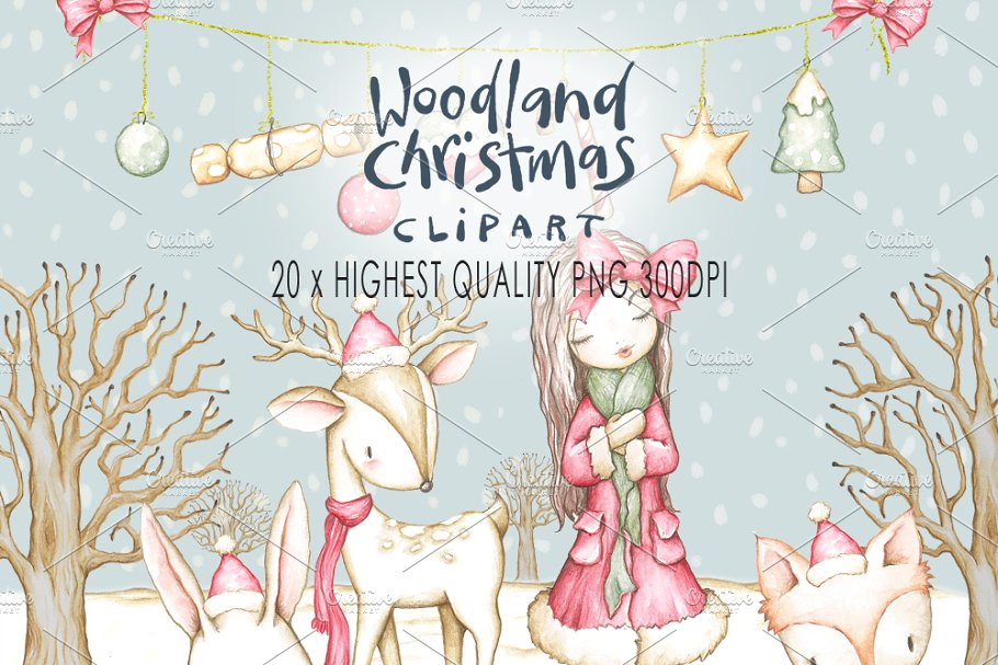 Woodland Christmas Clip art.