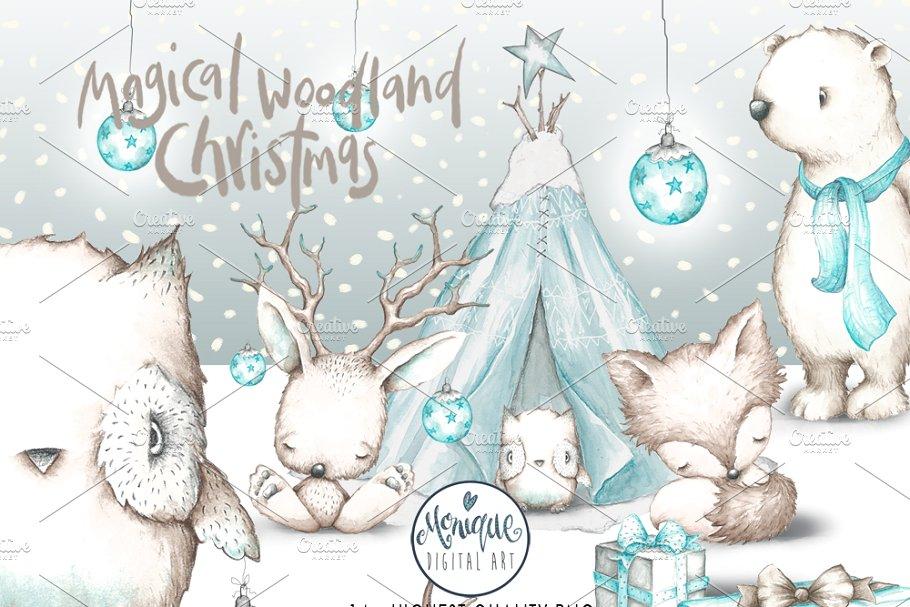 Woodland Christmas Animals Clipart.