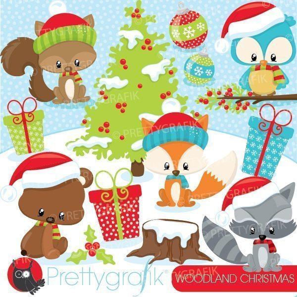 Woodland Christmas clipart.