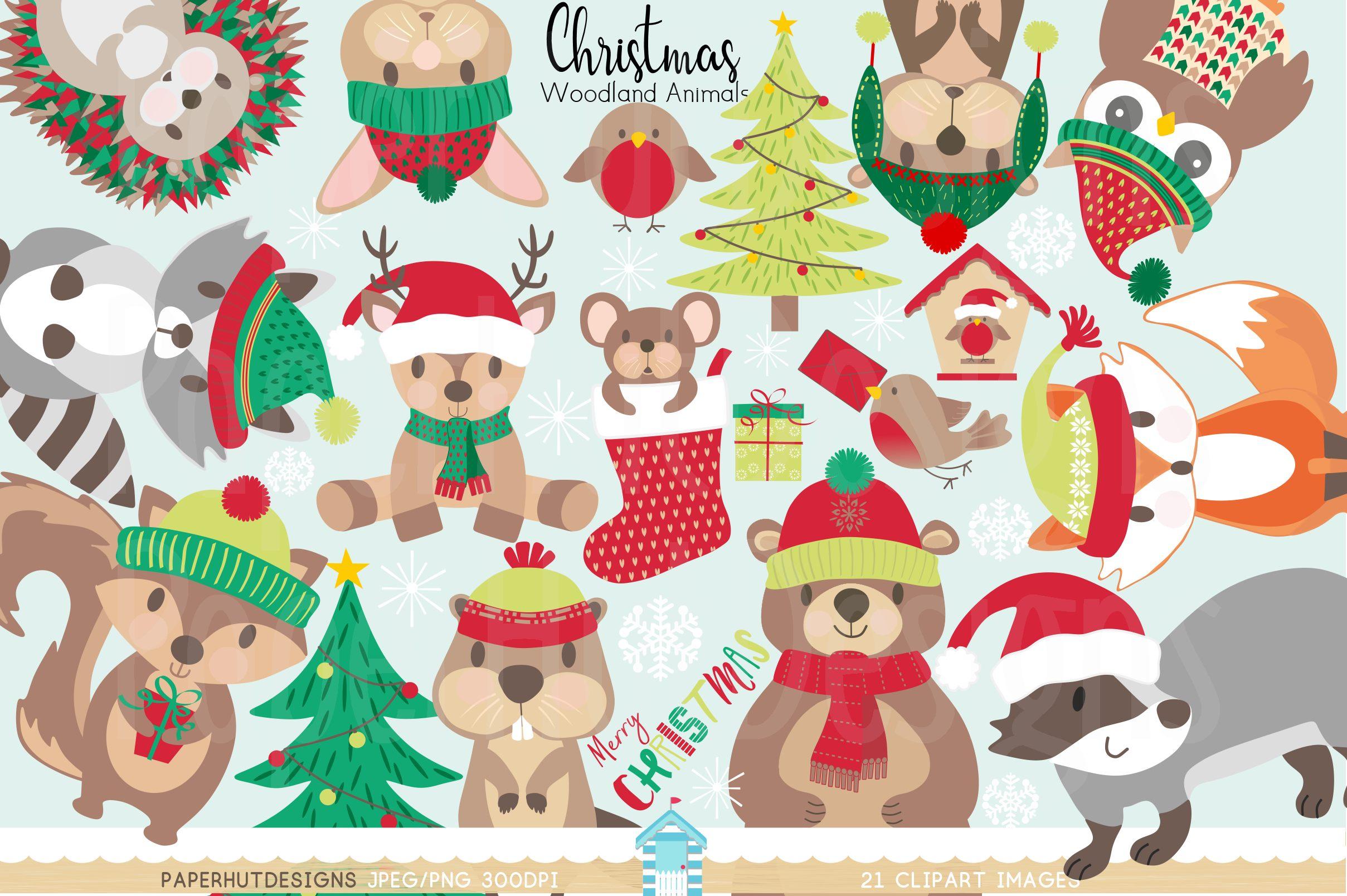 Christmas Woodland Animals Clipart.