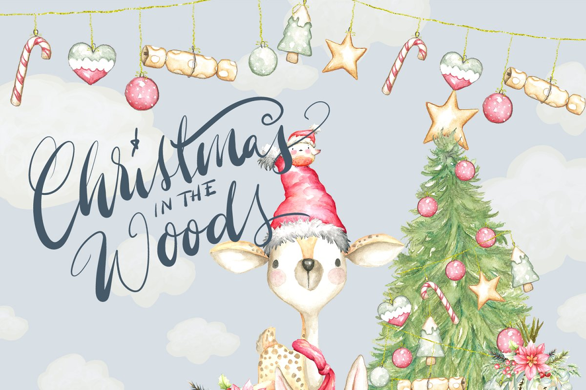 Christmas Woodland Animals Clipart.