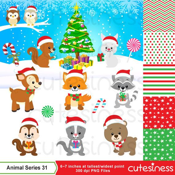 Woodland Christmas Clipart Christmas animal clipart by.