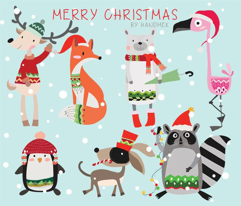 Woodland christmasChristmas Clipart Instant Download by.