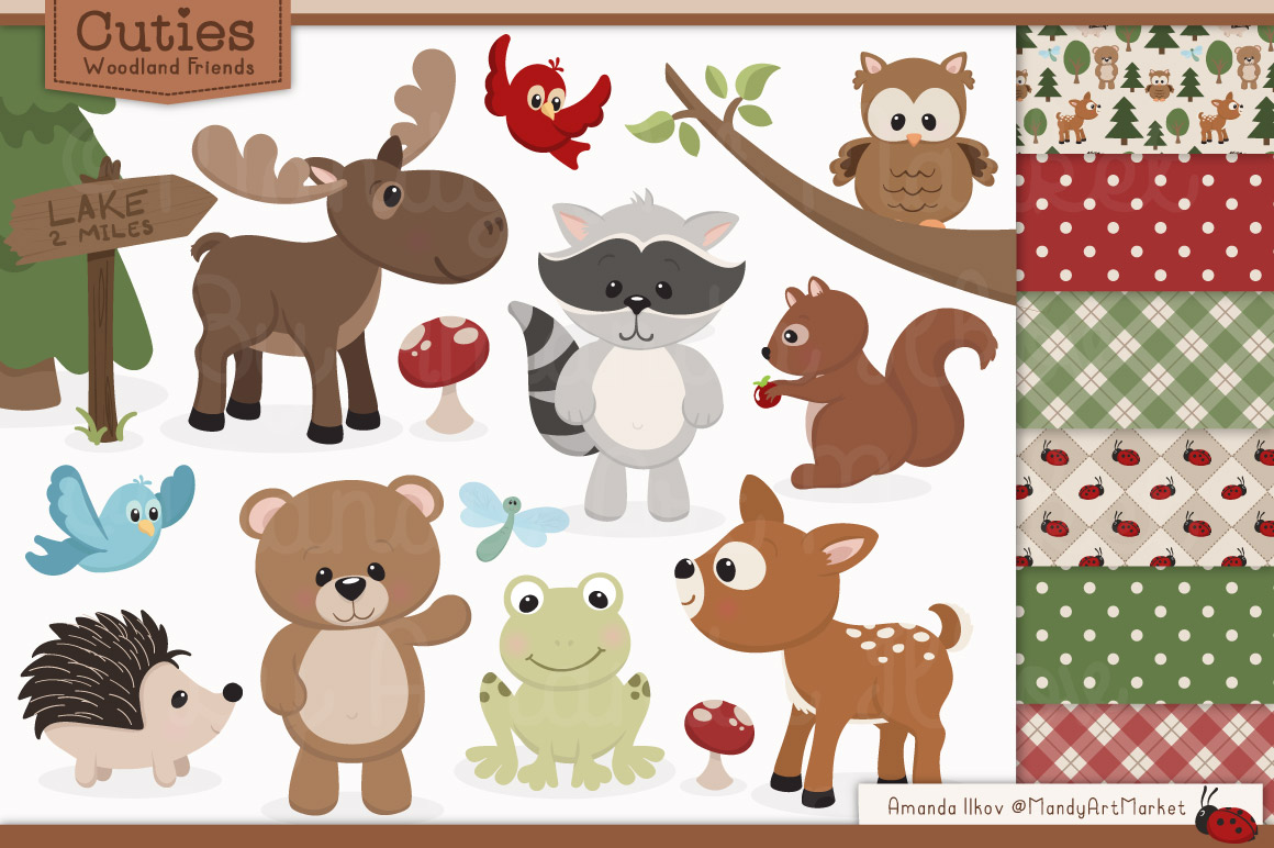 Free Woodland Animals Clipart.