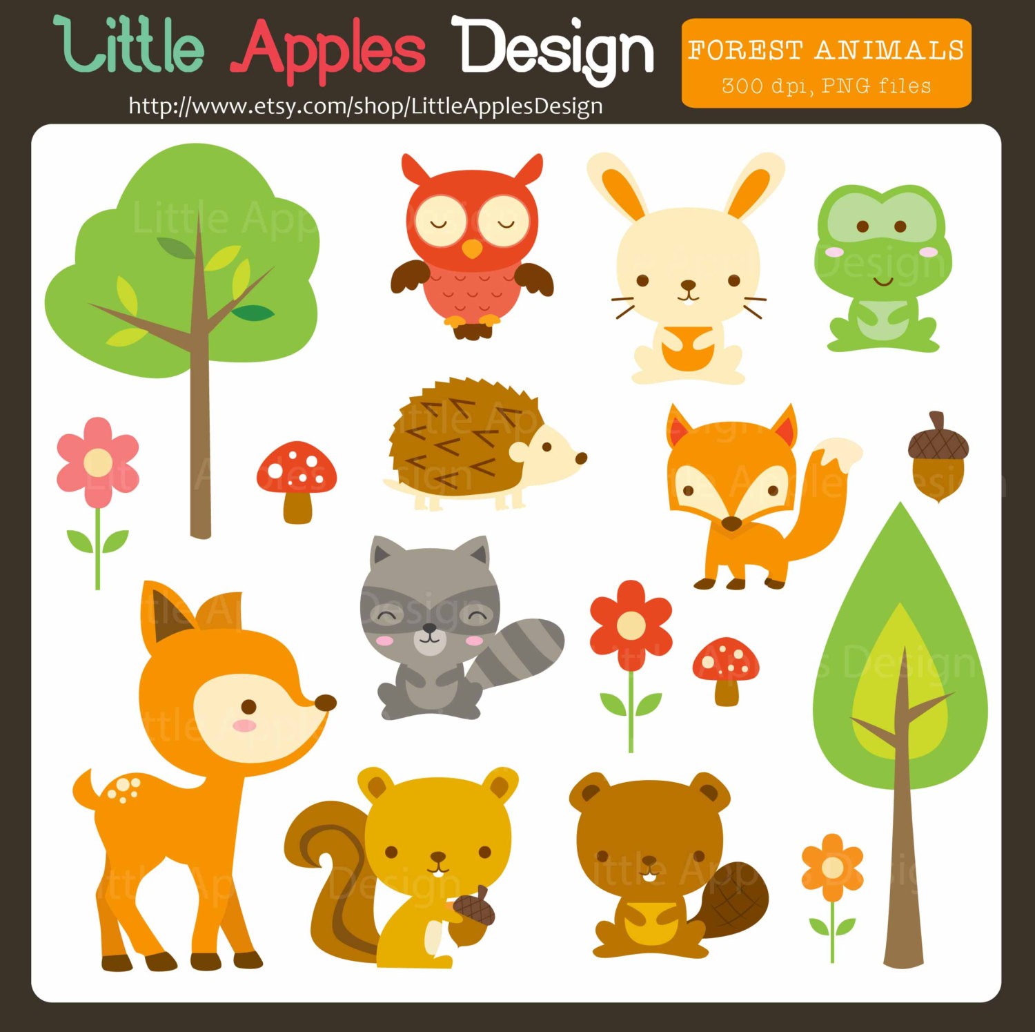 Woodland Animal Clip Art / Woodland Animal Clipart / by DreamyDuck.