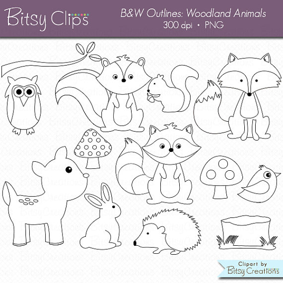 Woodland Animals OUTLINE Digital Art Set Clipart Commercial.