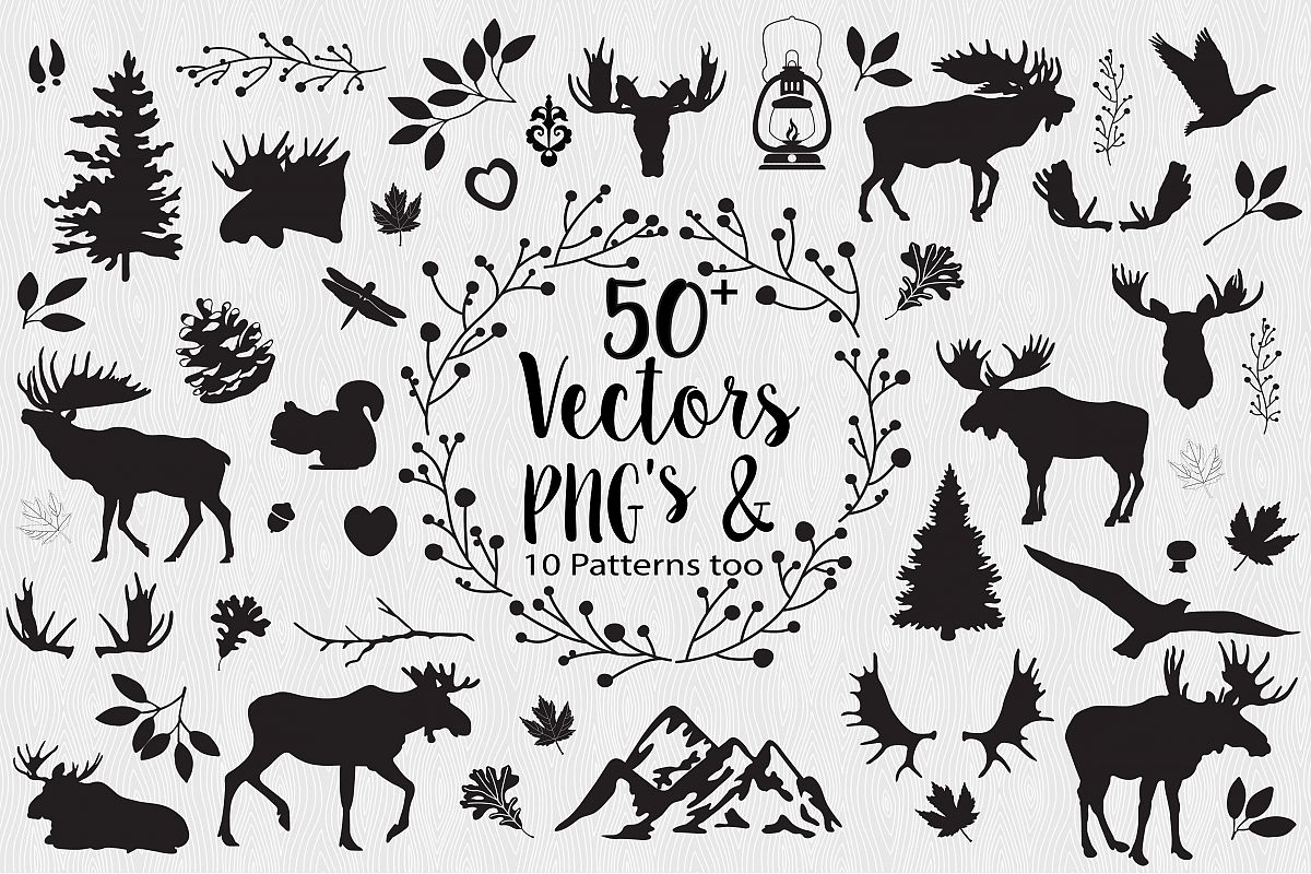 Moose Woodlands Clipart.