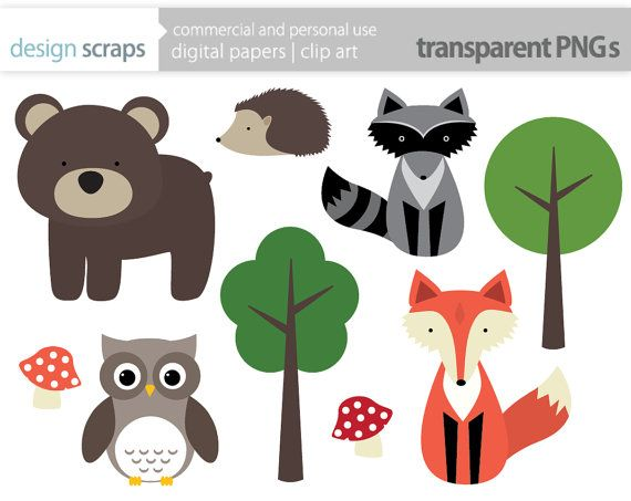 woodland animal clip art graphics, forest animals digital.