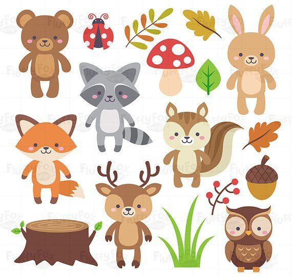 Woodland Animals Clipart, Forest Animal Clip Art, Wild Cute.