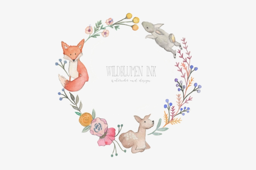 Nursery Art Wildblumen Ink Baby Shower Wreathpng.