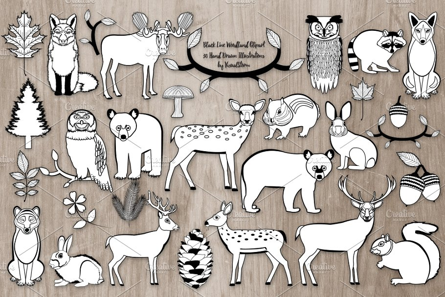 Black and White Woodland Animals.