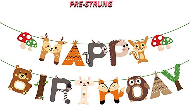 Woodland Creature Birthday Party Supplies, Jungle Adventure Birthday Party  Decorations, Woodland Animal Happy Birthday Banner,Forest Friend Animal.