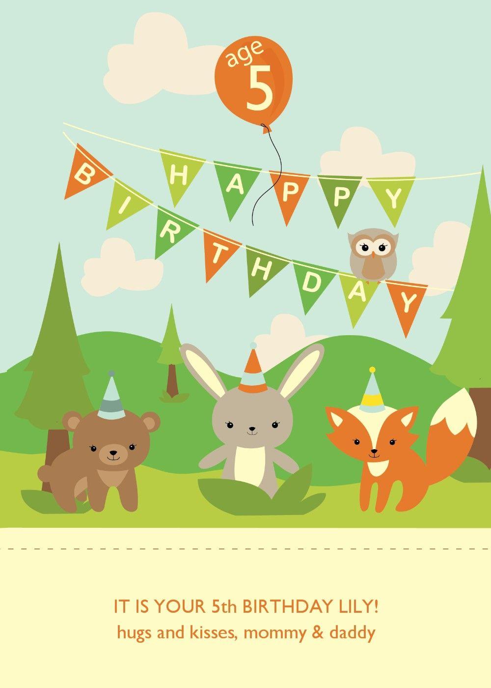 Woodland Animals Birthday Card.
