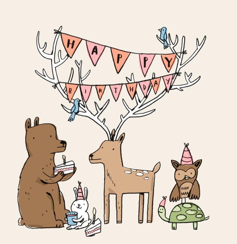 woodland creature happy birthday clipart #6