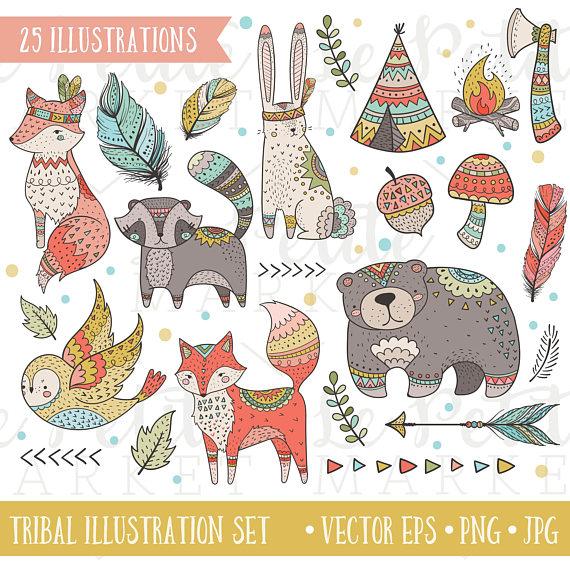 Cute Digital Tribal Woodland Clip Art, 25 Illustrations.