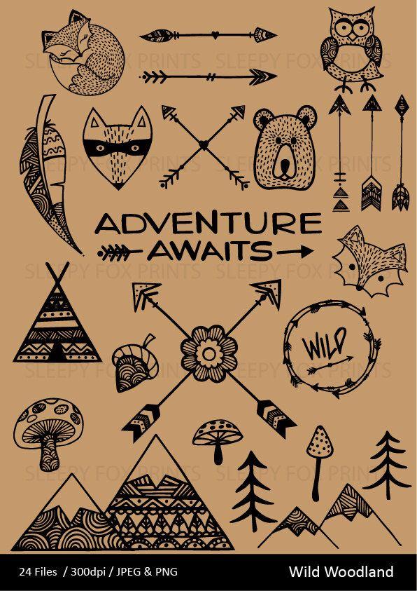 Wild Woodland Clipart, Wilderness,Arrows, Feather, Bear.
