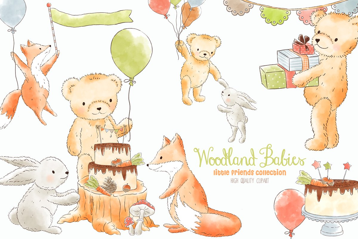 Forest Woodland animals clipart ~ Illustrations ~ Creative.