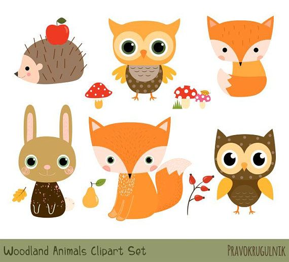Woodland Animal Clipart Set, Cute Forest Animal Clipart.