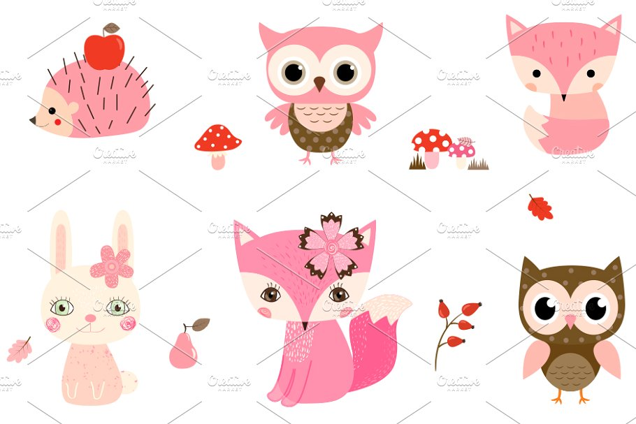 Cute Pink Woodland Animals Clipart.