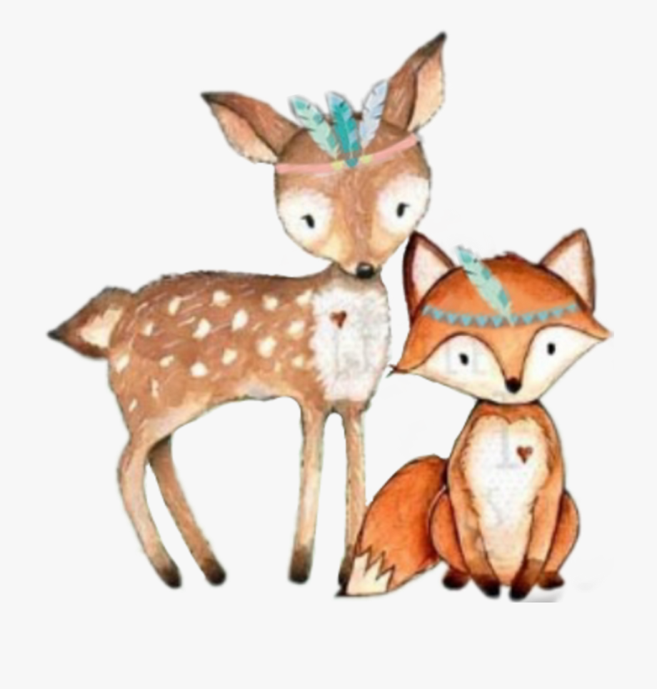 Tribal Fox Deer Woodland Forest Animals.
