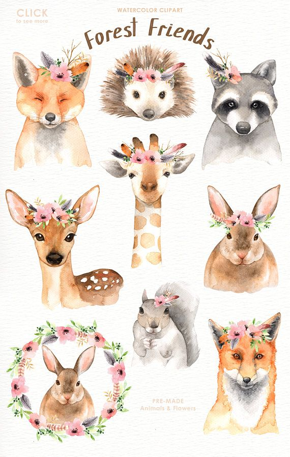 Forest Friends Watercolor Clip Art,Woodland Animals, Kids.