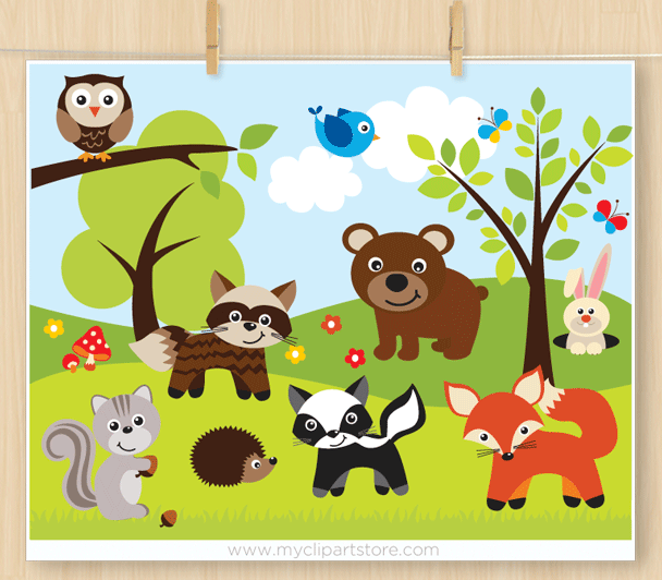 Sherwood Forest Animals Clipart.