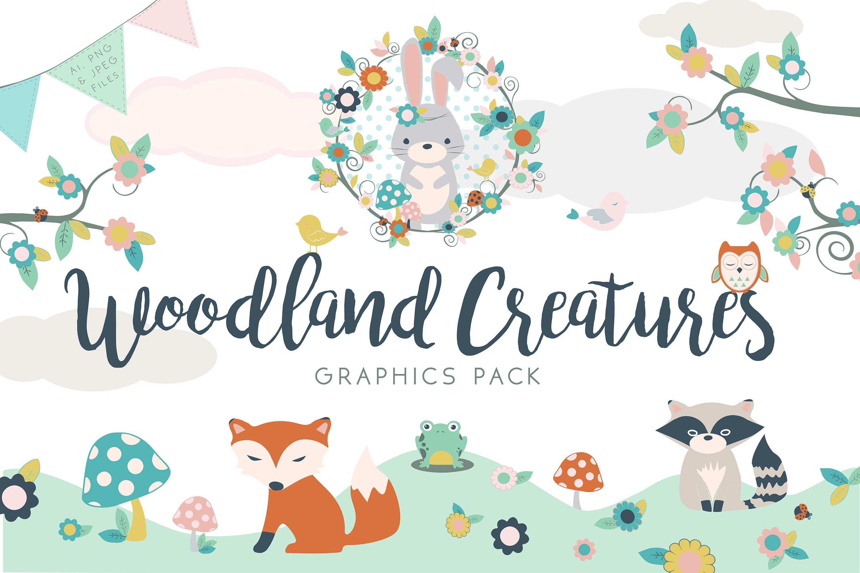 Woodland Creatures Graphic Set.