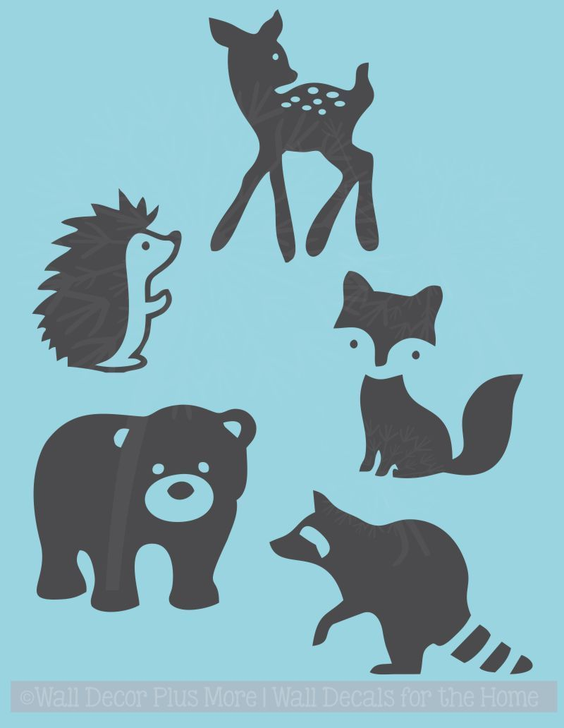Baby Woodland Animals Silhouette Wall Art Decals Stickers.