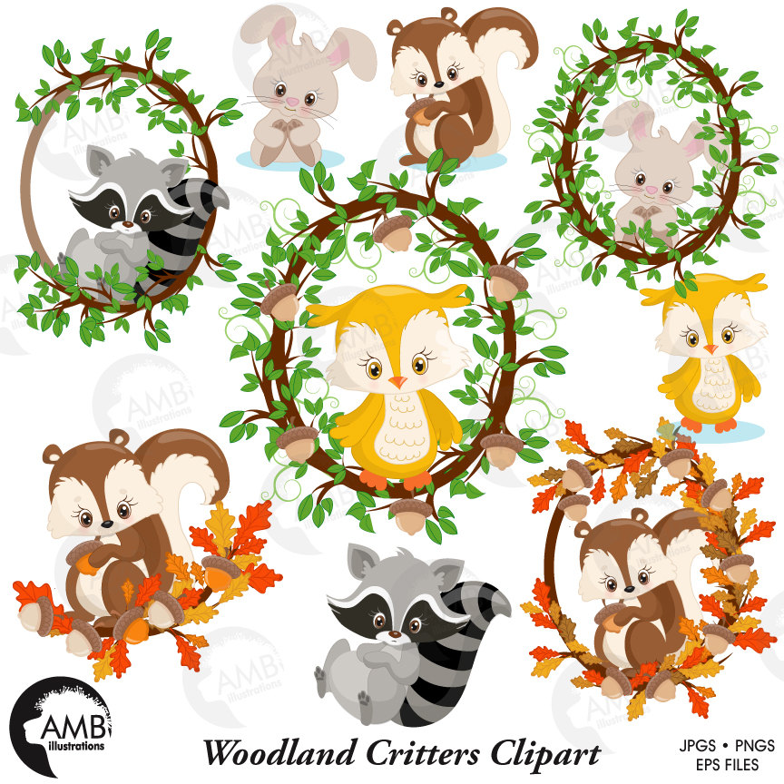 Woodland Forest Animals clipart, Woodland animals clipart, Animal clipart,  commercial use, vector graphics, digital, AMB.