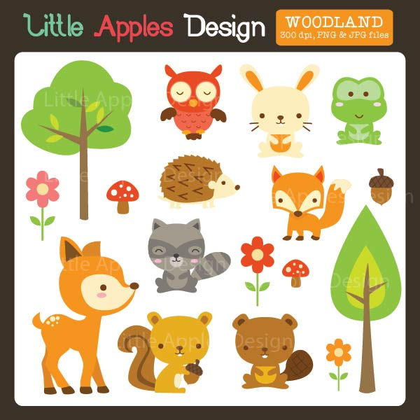 Showing post & media for Cartoon woodland animal clip art.