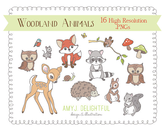 Woodland Creatures CLIP ART SET for personal and commercial use.