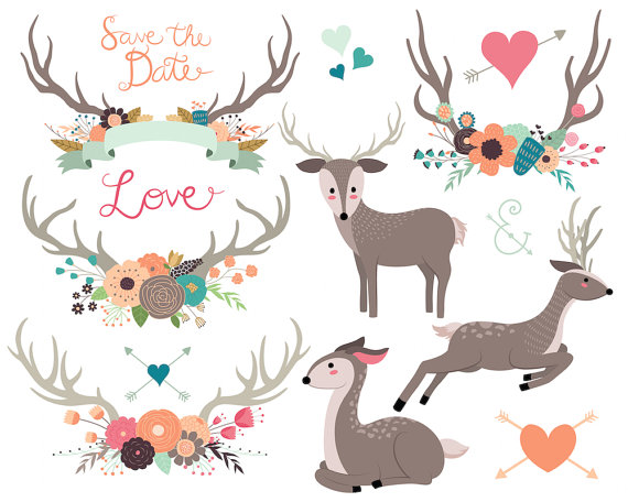 Rustic Floral Woodland Wedding Clipart.