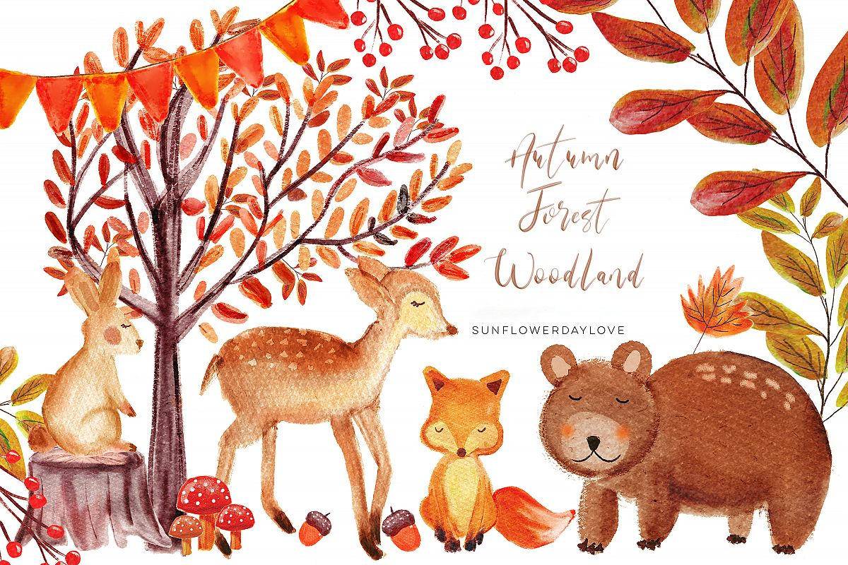 Autumn Forest Woodland clipart, Watercolor Bear deer Clipart.