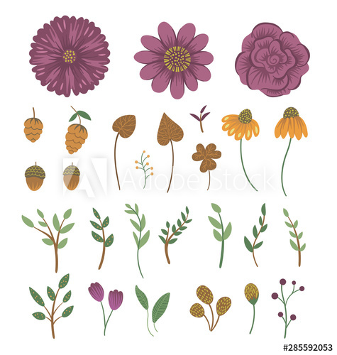 Vector floral clip art set. Hand drawn flat trendy.