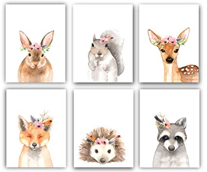 Designs by Maria Inc. Woodland Floral Crown Animals Nursery Decor  Watercolor Art.