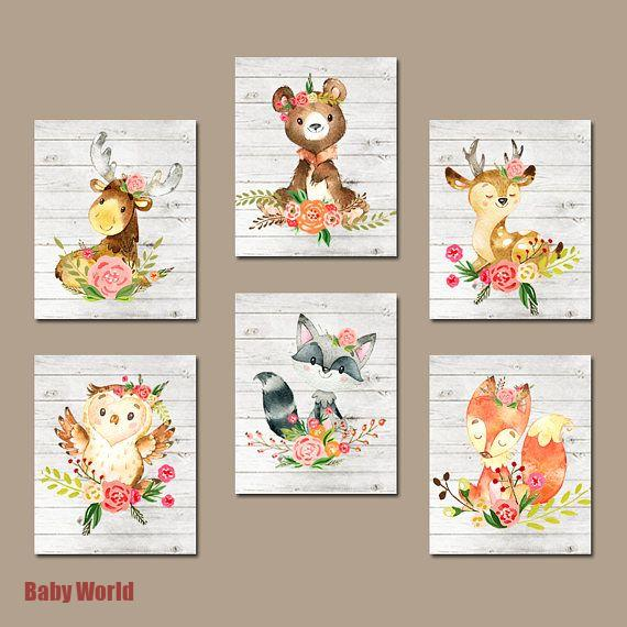 Floral Woodland Animals Nursery Wall Art. Girl Forest.