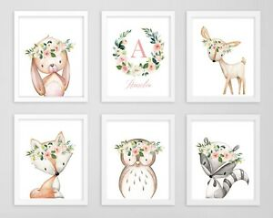 Details about Blush Pink Woodland Animals Personalised Monogram Floral  Nursery Art Set 6 614.