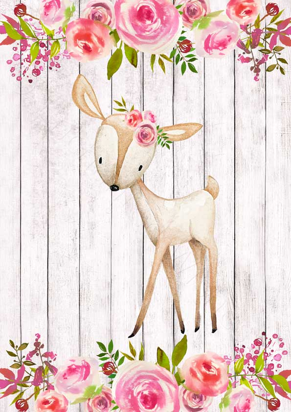 Set of 4 Floral Woodland Animal Printables.