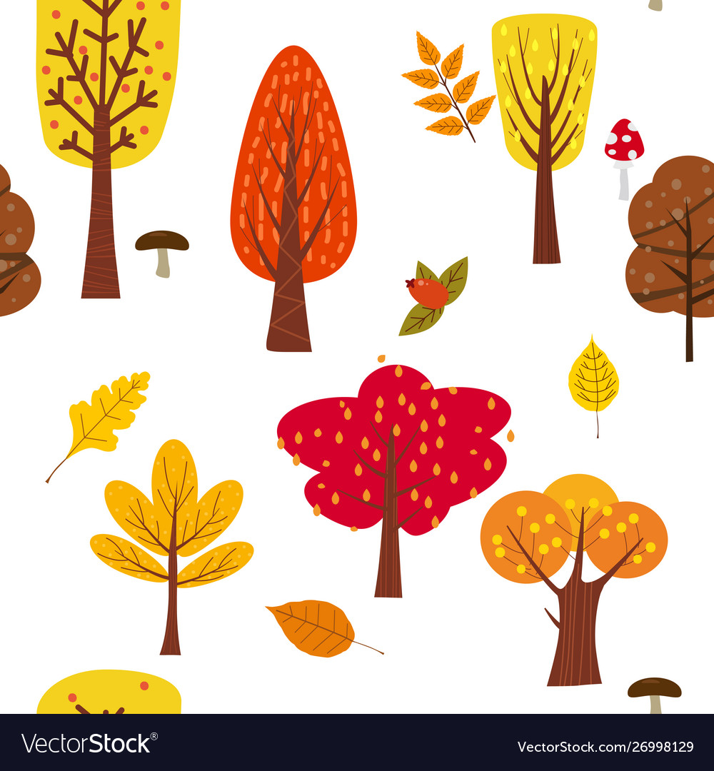 Seamless tree pattern forest woodland with leaves.