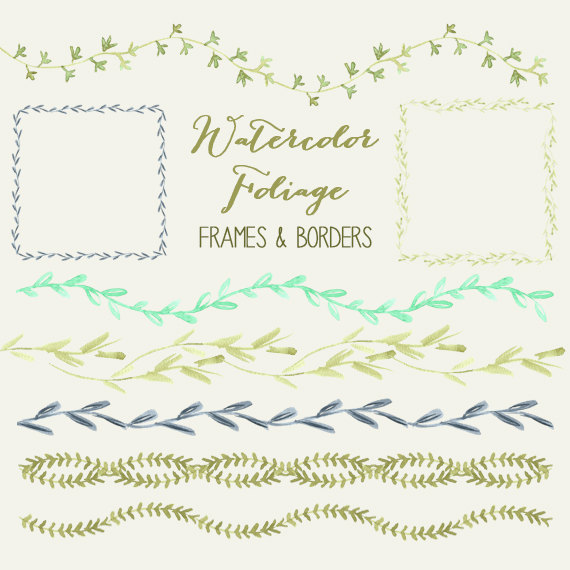 Watercolor Foliage Frame And Border Clipart Collection.