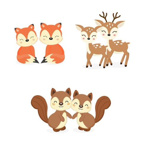 Set of cute couple woodland animals. Foxes,Deer,Squirrels.