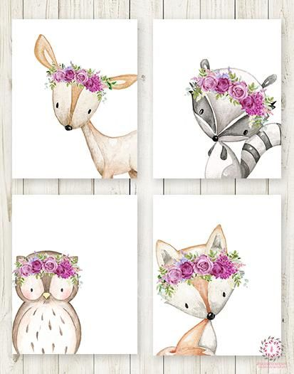 4 Deer Fox Owl Raccoon Boho Wall Art Print Purple Woodland.