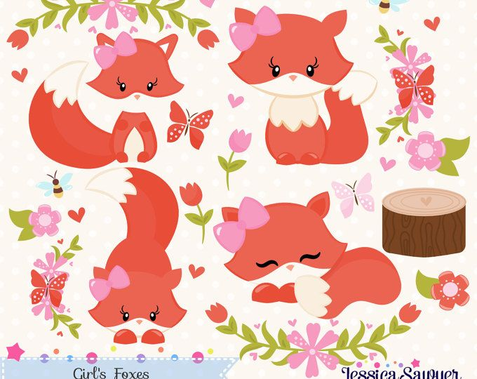 Baby Woodland Animal Clipart, Girl, Baby Clip Art, Pink.